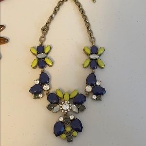 Navy and green statement necklace